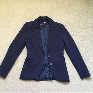 H&M Dark Blue Navy Blazer with Two Buttons Size 4